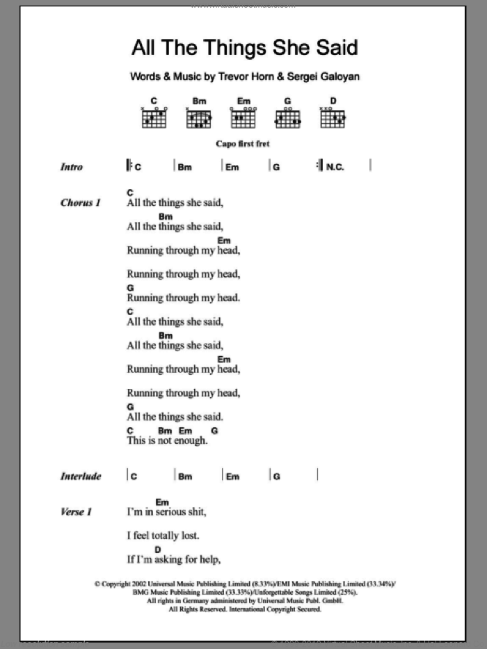All The Things She Said sheet music for guitar (chords) by Tatu, Sergei Galoyan and Trevor Horn, intermediate