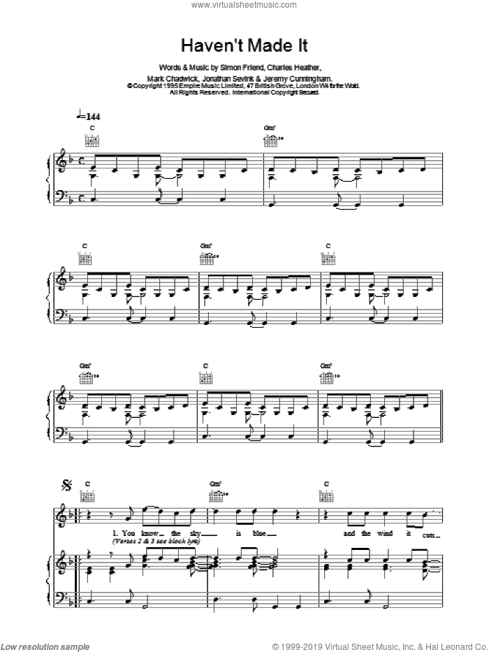 Haven't Made It sheet music for voice, piano or guitar by The Levellers, CHADWICK, Charles Heather and FRIEND, intermediate skill level