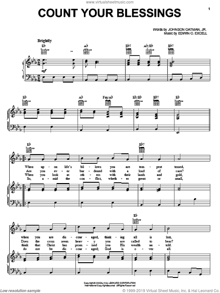 Count Your Blessings sheet music for voice, piano or guitar by Johnson Oatman, Jr. and Edwin O. Excell. Score Image Preview.