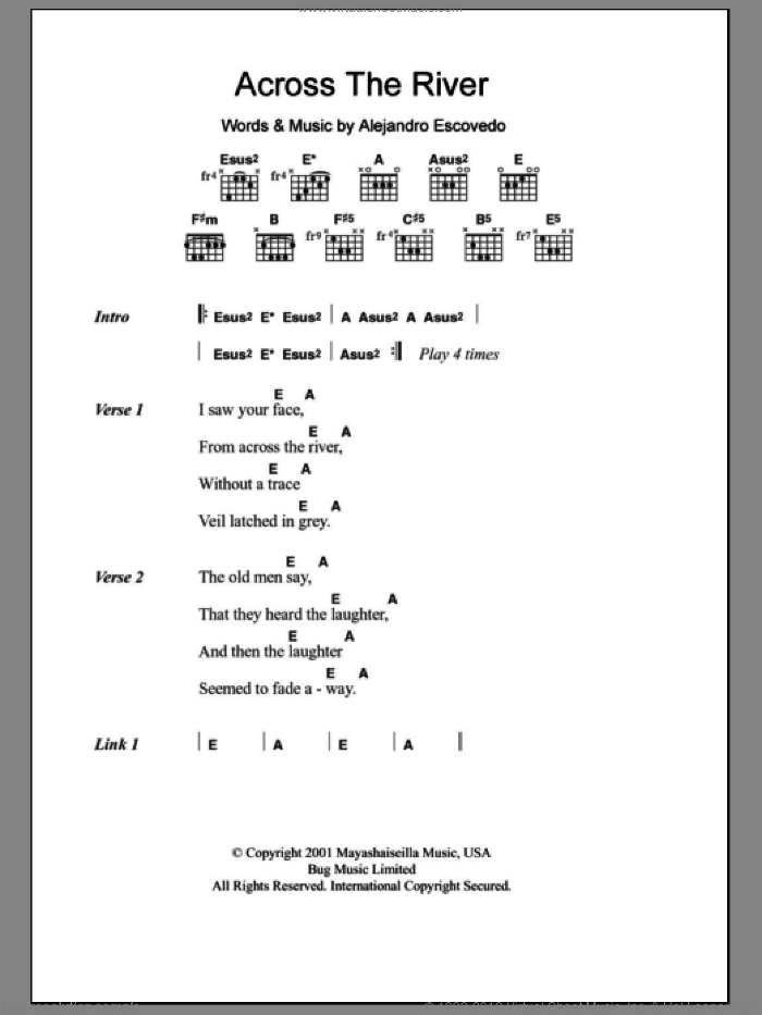 Across The River sheet music for guitar (chords) by Alejandro Escovedo, intermediate