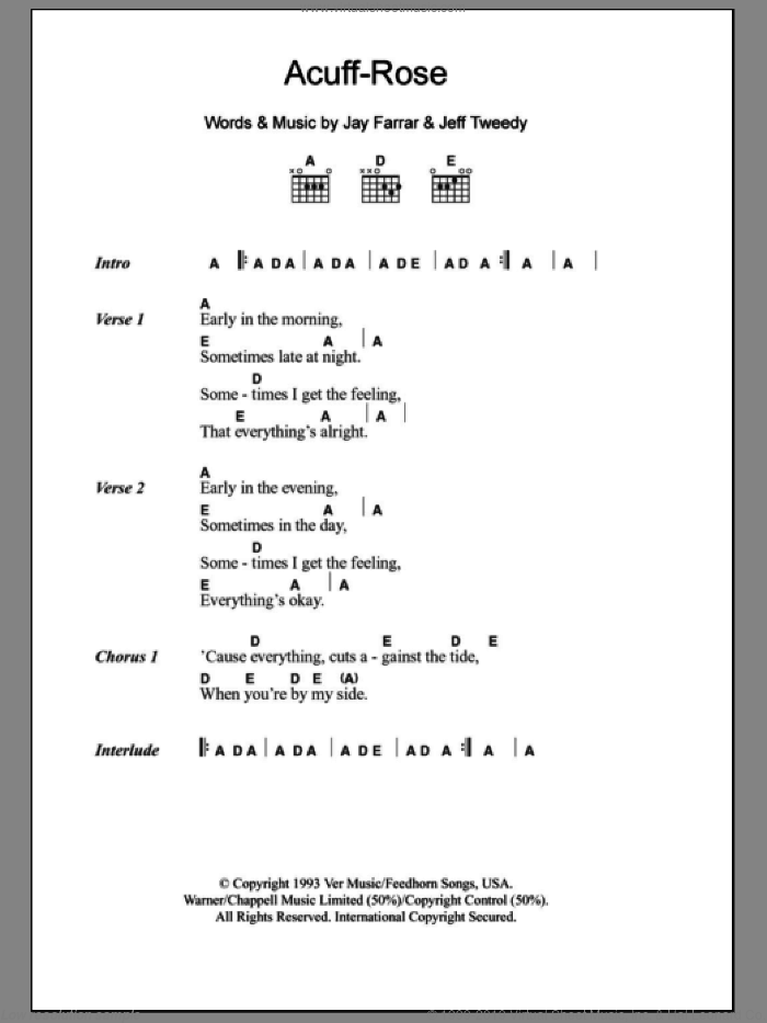 Acuff-Rose sheet music for guitar (chords) by Jeff Tweedy and Jay Farrar. Score Image Preview.
