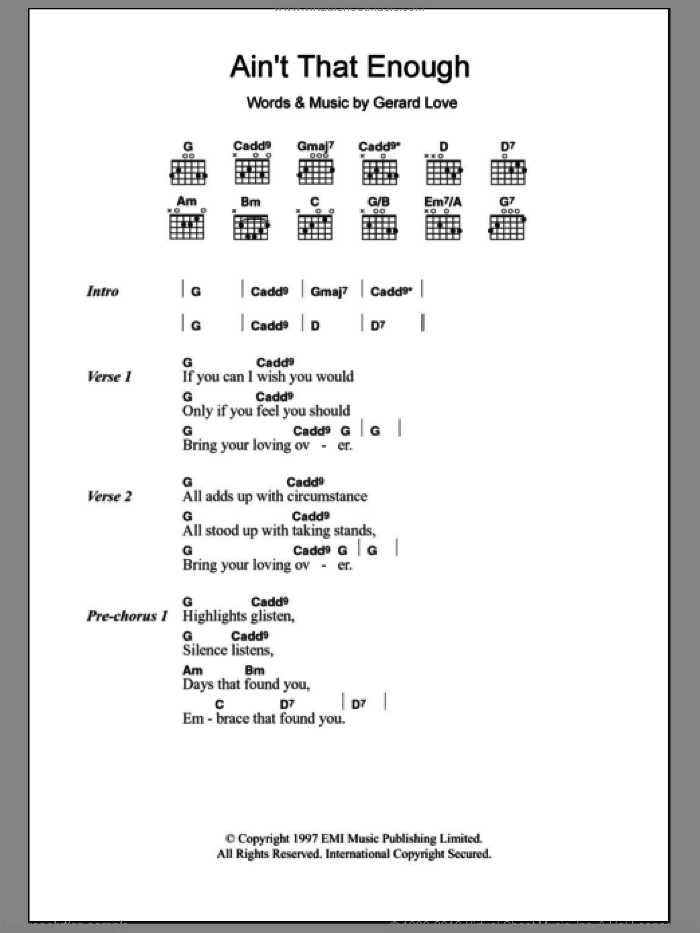 Ain't That Enough sheet music for guitar (chords) by Teenage Fanclub and Gerard Love, intermediate