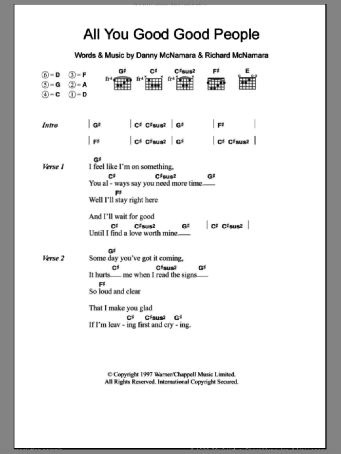 All You Good Good People sheet music for guitar (chords) by Richard McNamara, Embrace and Danny McNamara. Score Image Preview.