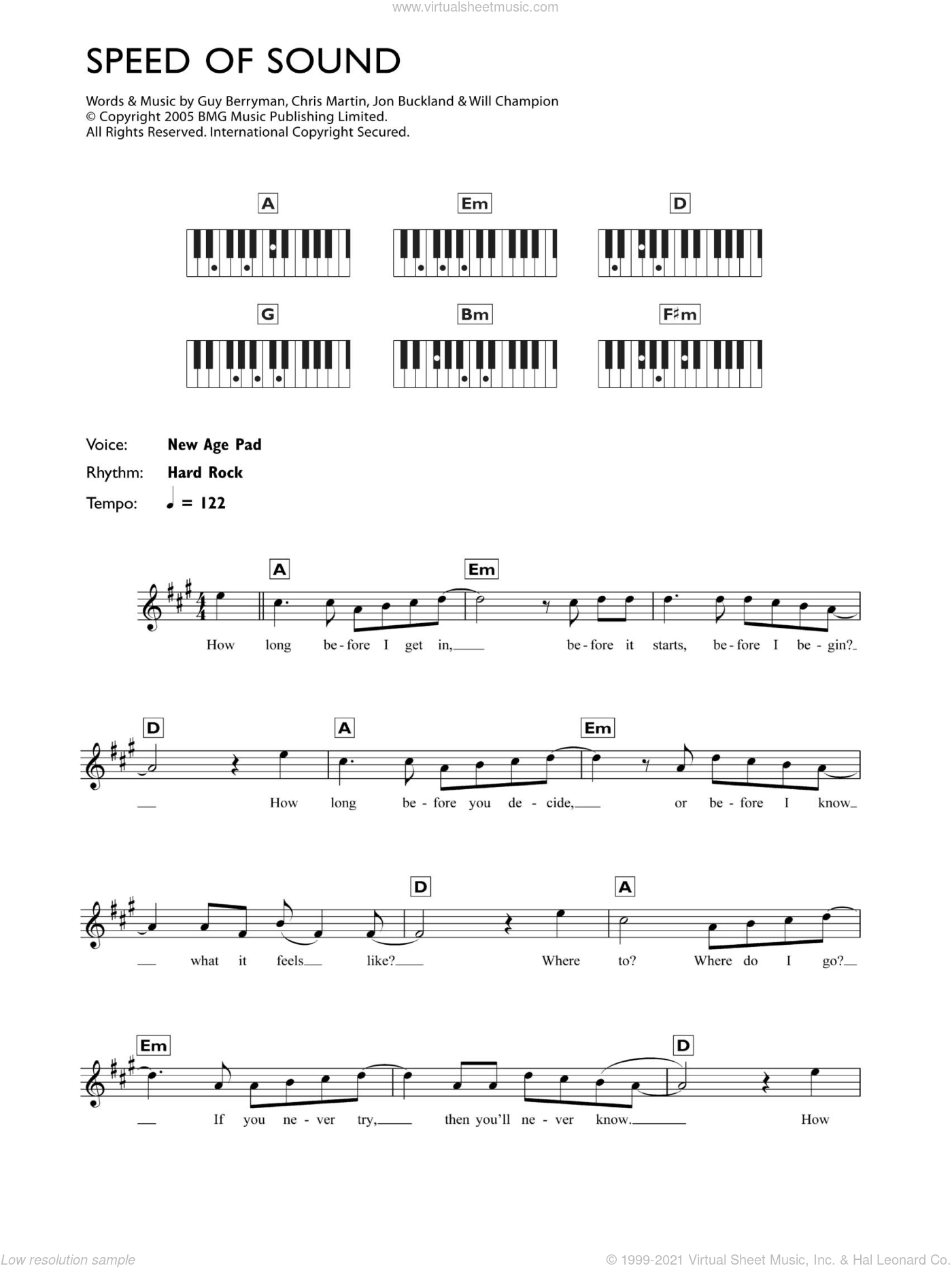 Speed Of Sound sheet music for piano solo (chords, lyrics, melody) by Coldplay, Chris Martin, Guy Berryman, Jon Buckland and Will Champion, intermediate piano (chords, lyrics, melody)