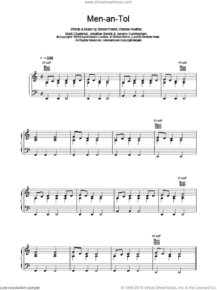 Men-an-Tol sheet music for voice, piano or guitar by The Levellers, intermediate voice, piano or guitar. Score Image Preview.