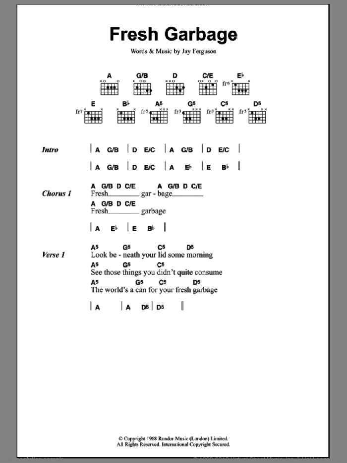 Fresh Garbage sheet music for guitar (chords) by Spirit, intermediate. Score Image Preview.