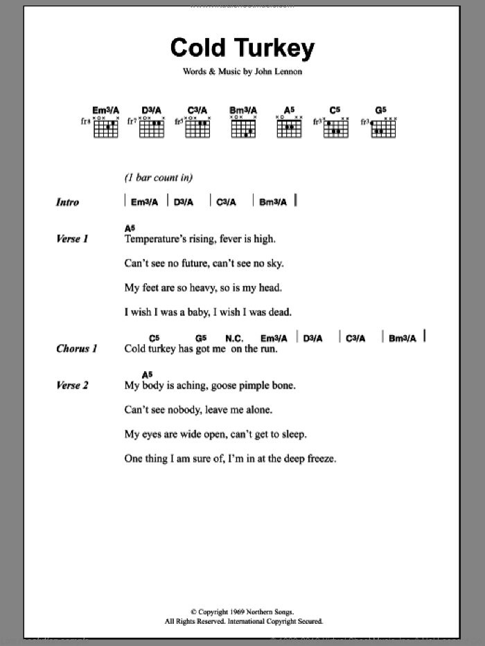 Lennon Cold Turkey Sheet Music For Guitar Chords Pdf