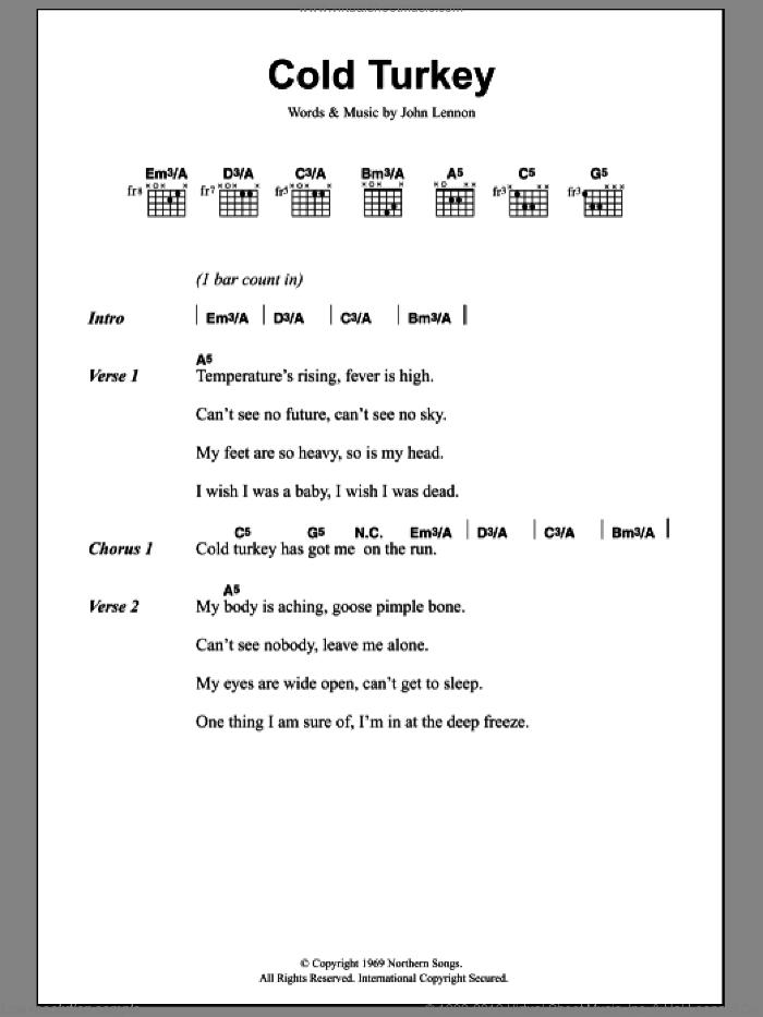 Cold Turkey sheet music for guitar (chords) by John Lennon, intermediate skill level