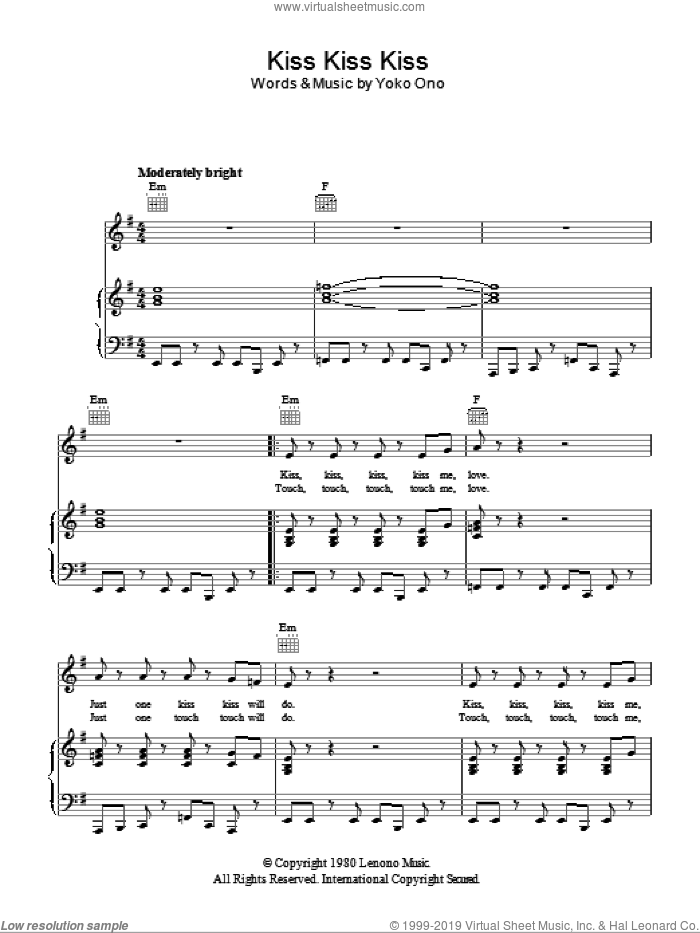 Kiss, Kiss, Kiss sheet music for voice, piano or guitar by Yoko Ono, intermediate. Score Image Preview.