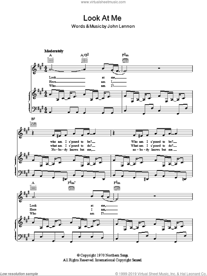 Look At Me sheet music for voice, piano or guitar by John Lennon. Score Image Preview.