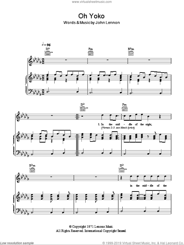 Oh Yoko sheet music for voice, piano or guitar by John Lennon. Score Image Preview.