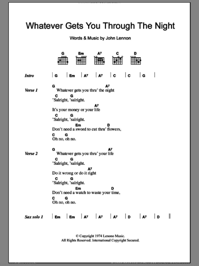 Whatever Gets You Through The Night sheet music for guitar (chords) by John Lennon, intermediate skill level
