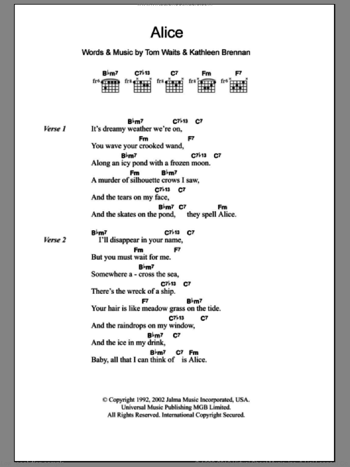 Alice sheet music for guitar (chords) by Tom Waits. Score Image Preview.