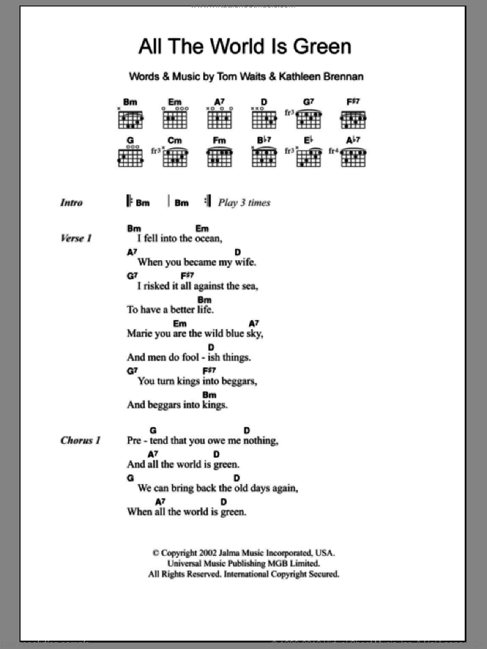 All The World Is Green sheet music for guitar (chords) by Tom Waits and Kathleen Brennan, intermediate skill level