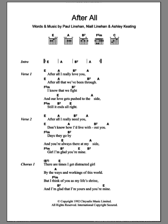 After All sheet music for guitar (chords) by Paul Linehan. Score Image Preview.