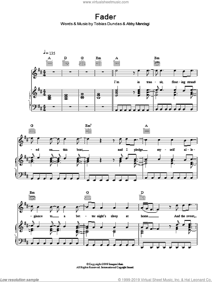 Fader sheet music for voice, piano or guitar by The Temper Trap, Abby Mandagi and Tobias Dundas, intermediate skill level