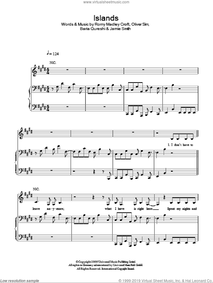 Islands sheet music for voice, piano or guitar by The XX. Score Image Preview.