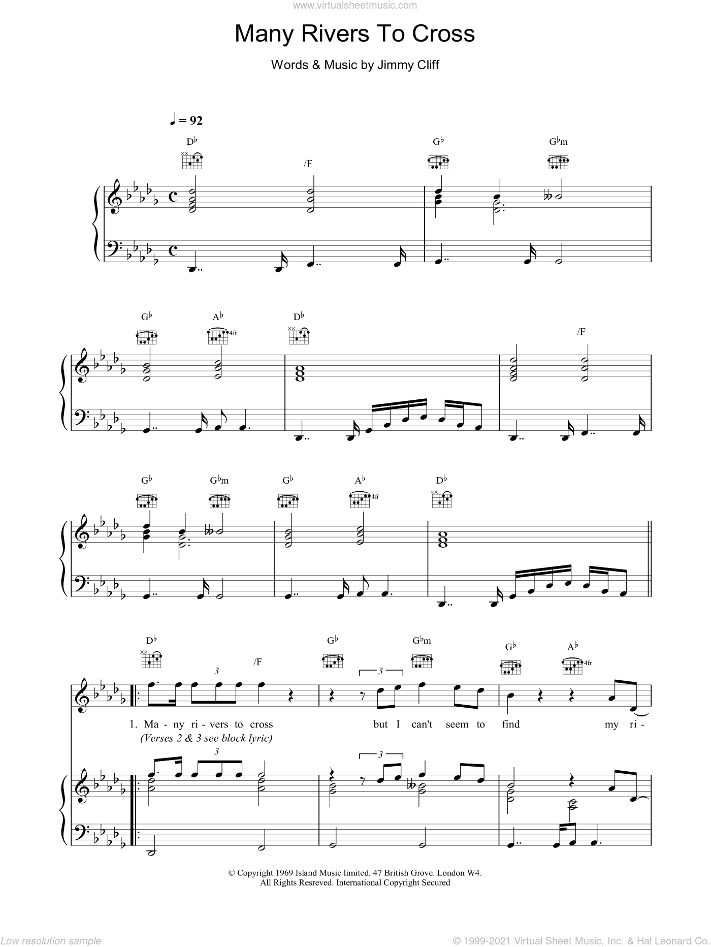 Many Rivers To Cross sheet music for voice, piano or guitar by Jimmy Cliff and UB40. Score Image Preview.