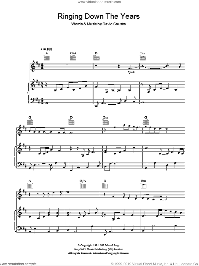 Ringing Down The Years sheet music for voice, piano or guitar by The Strawbs, intermediate voice, piano or guitar. Score Image Preview.