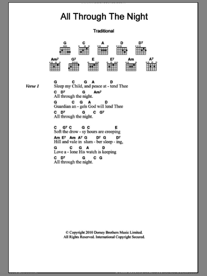 All Through The Night sheet music for guitar (chords). Score Image Preview.