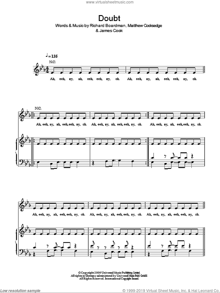 Doubt sheet music for voice, piano or guitar by Delphic, James Cook, Matthew Cocksedge and Richard Boardman, intermediate skill level