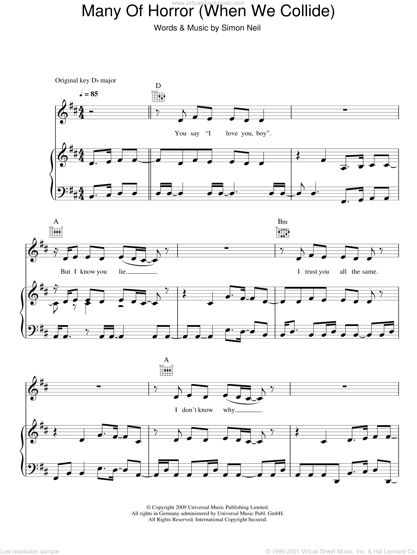 Many Of Horror (When We Collide) sheet music for voice, piano or guitar by Biffy Clyro and Simon Neil, intermediate skill level