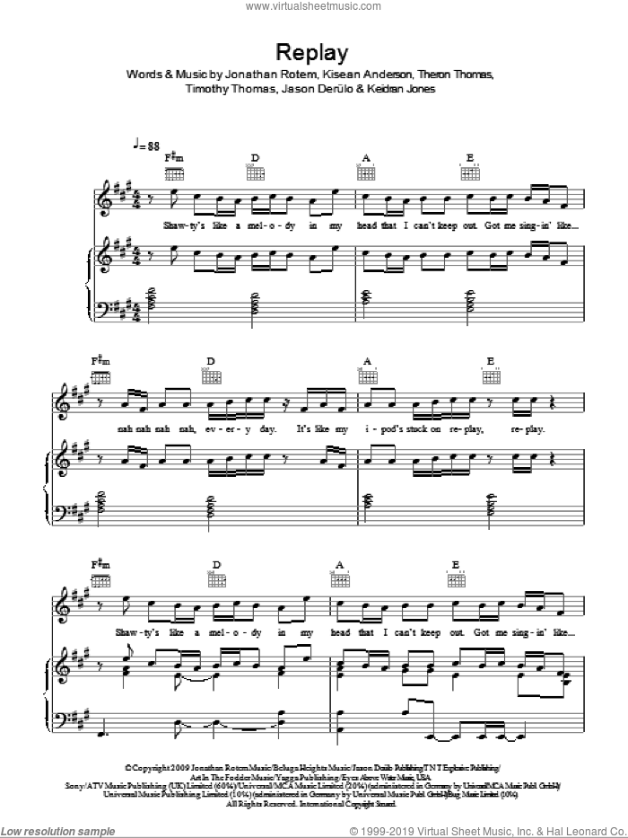 Replay sheet music for voice, piano or guitar by Timmy Thomas, Jason Derulo, Jonathan Rotem and Kisean Anderson. Score Image Preview.