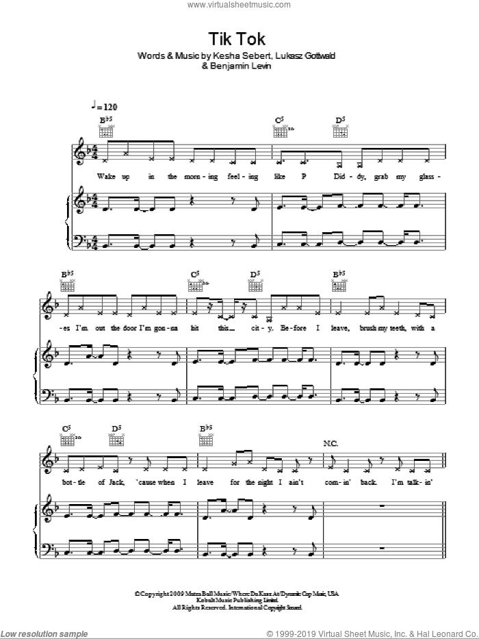 Kesha - Tik Tok sheet music for voice, piano or guitar PDF