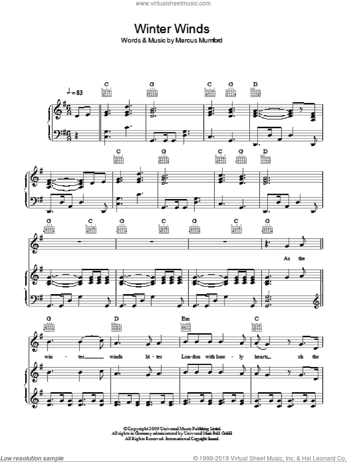 Winter Winds sheet music for voice, piano or guitar by Mumford & Sons and Marcus Mumford, intermediate skill level