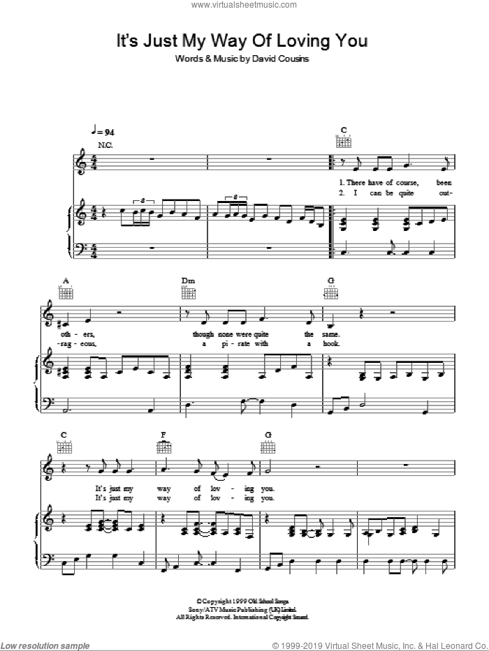 It's Just My Way Of (Loving You) sheet music for voice, piano or guitar by David Cousins