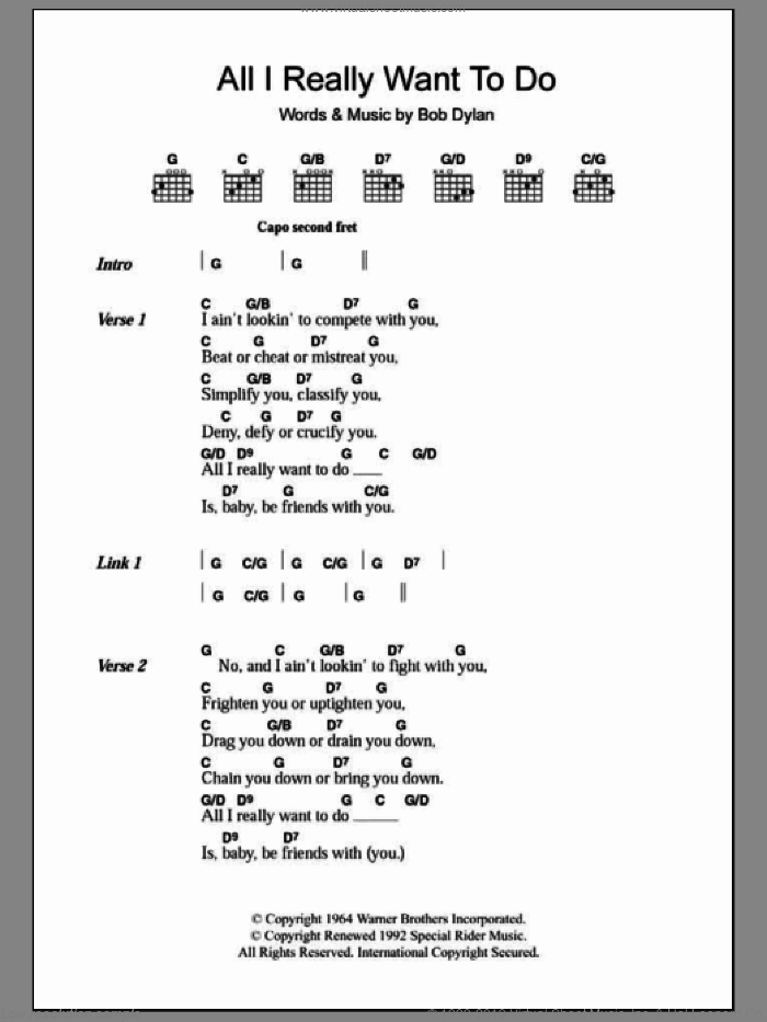 All I Really Want To Do sheet music for guitar (chords, lyrics, melody) by Bob Dylan