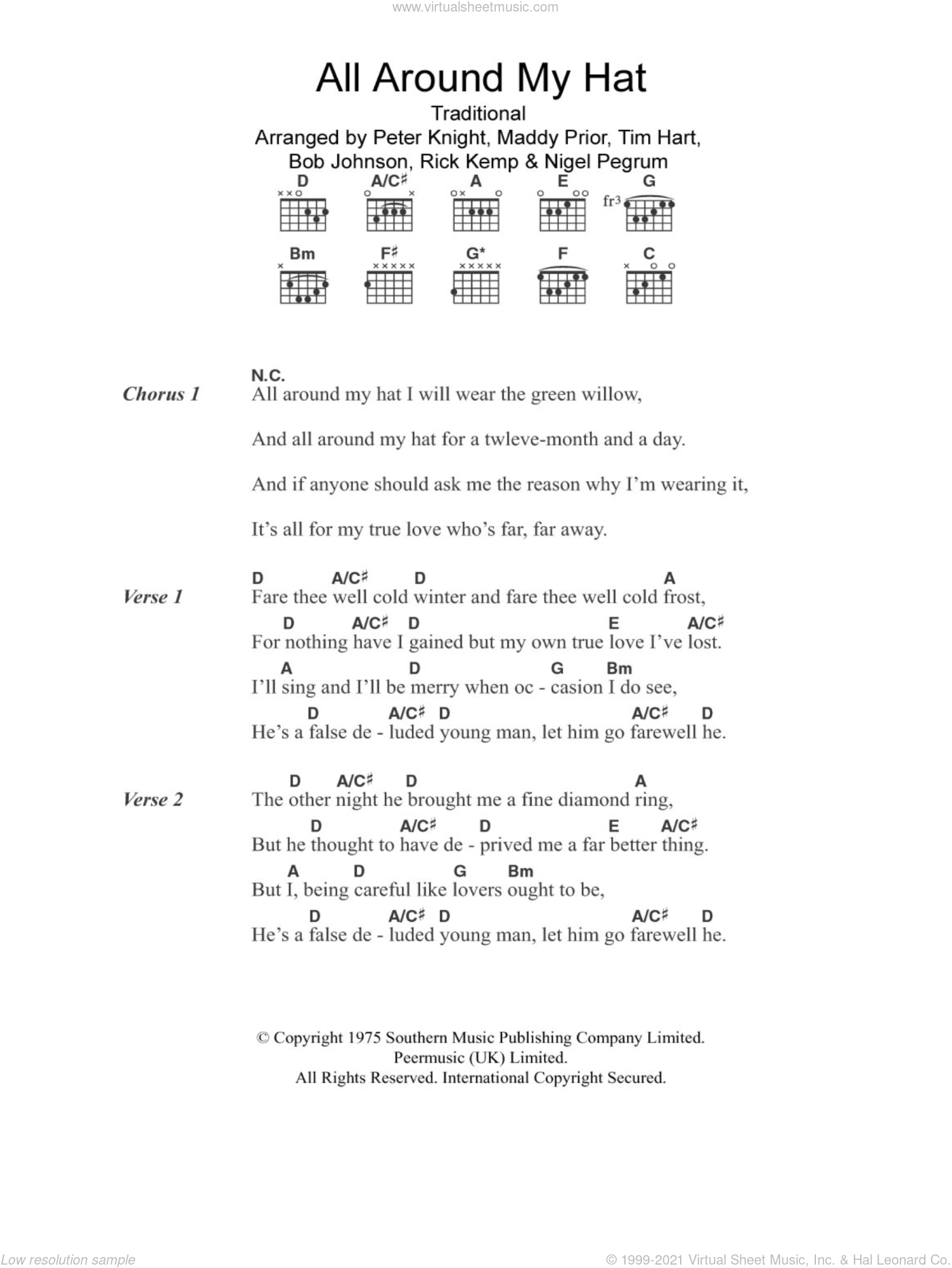 All Around My Hat sheet music for guitar (chords)