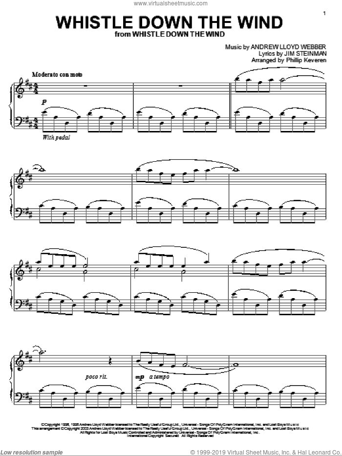 Whistle Down The Wind sheet music for piano solo by Jim Steinman, Phillip Keveren and Andrew Lloyd Webber. Score Image Preview.