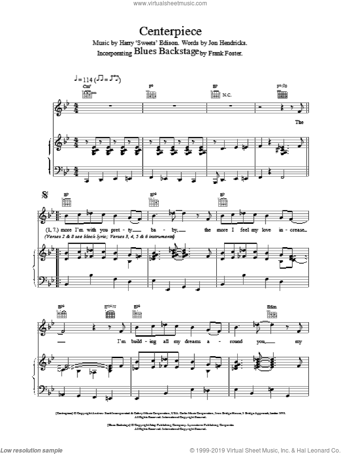 Centerpiece / Blues Backstage sheet music for voice, piano or guitar by Van Morrison, Frank Foster and Jon Hendricks, intermediate skill level
