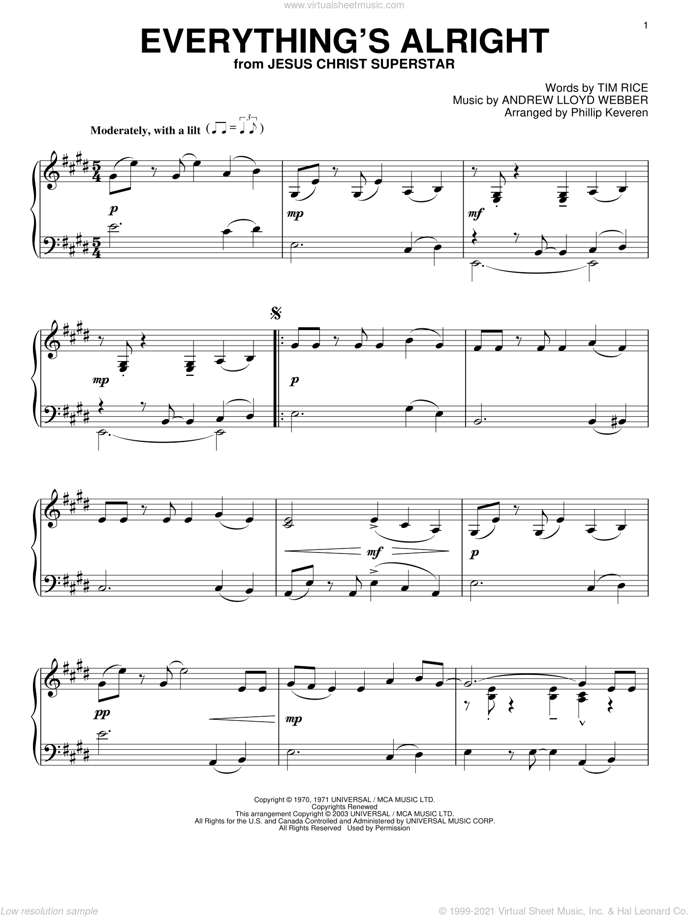 Everything's Alright sheet music for piano solo by Andrew Lloyd Webber, Phillip Keveren, Jesus Christ Superstar (Musical) and Tim Rice, intermediate skill level