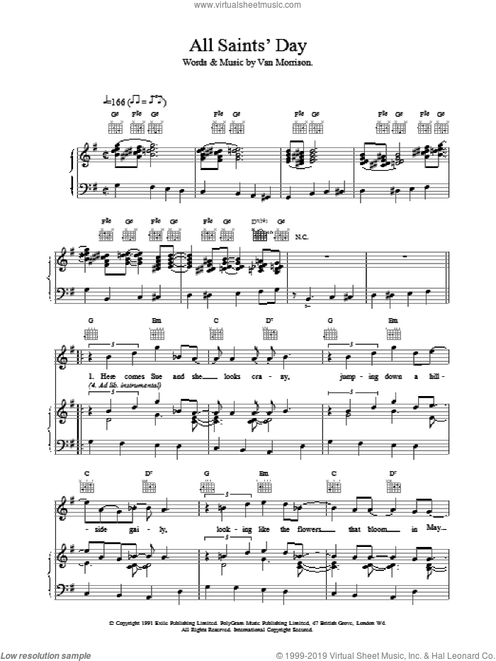 All Saint's Day sheet music for voice, piano or guitar by Van Morrison