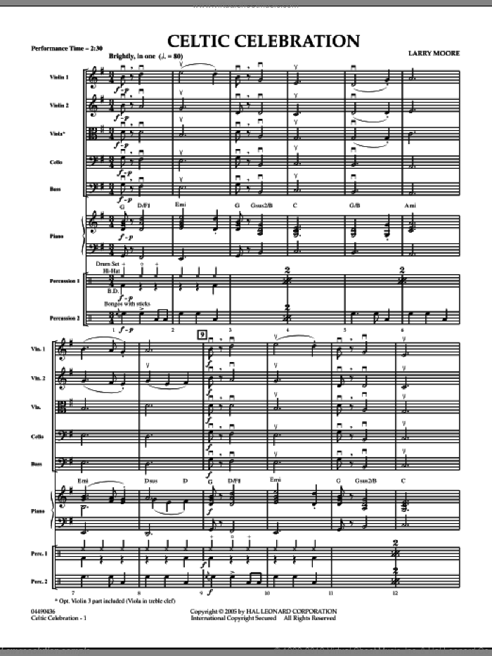 Celtic Celebration (COMPLETE) sheet music for orchestra by Larry Moore, intermediate