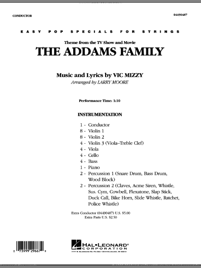 The Addams Family (COMPLETE) sheet music for orchestra by Vic Mizzy and Larry Moore, intermediate skill level