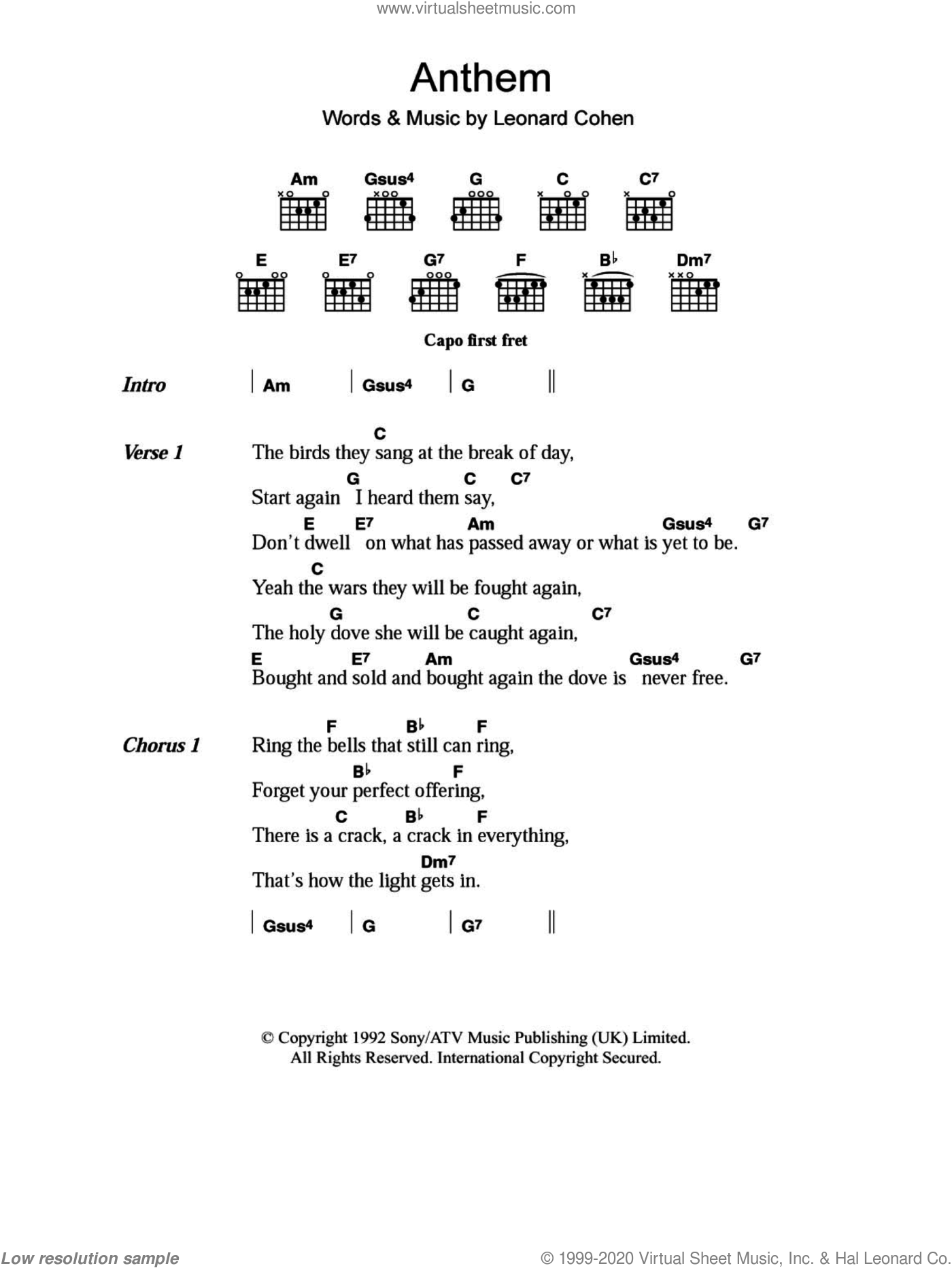 Anthem sheet music for guitar (chords) by Leonard Cohen