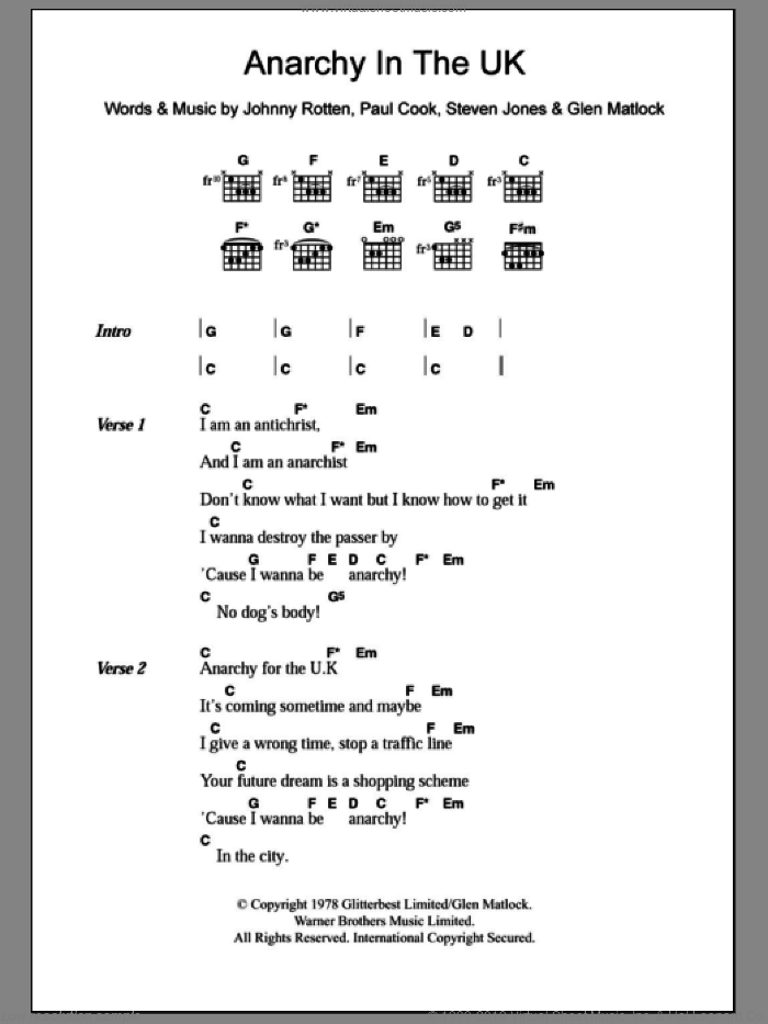 Anarchy In The U.K. sheet music for guitar (chords) by Steve Jones, Glen Matlock and Paul Cook. Score Image Preview.
