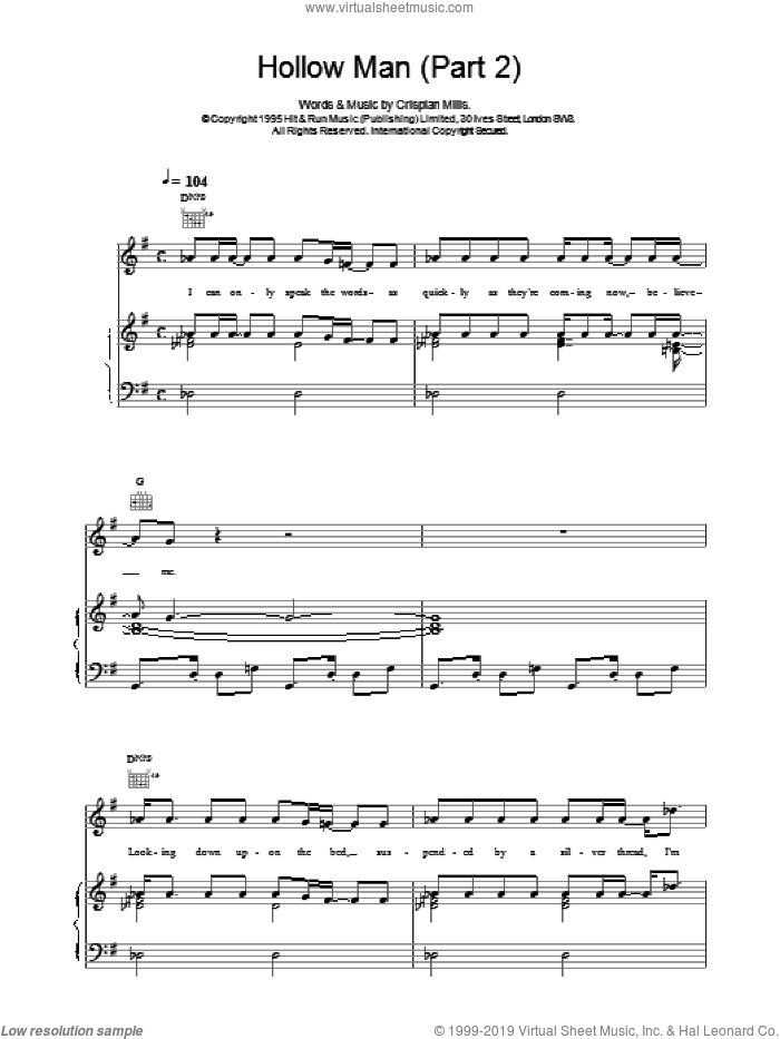 Hollow Man (Part 2) sheet music for voice, piano or guitar by Kula Shaker and Crispian Mills, intermediate