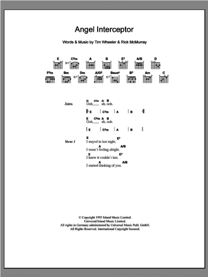 Angel Interceptor sheet music for guitar (chords) by Rick McMurray and Tim Wheeler. Score Image Preview.