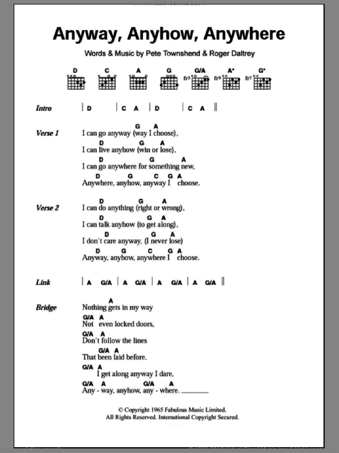 Anyway, Anyhow, Anywhere sheet music for guitar (chords) by The Who, Pete Townshend and Roger Daltrey. Score Image Preview.