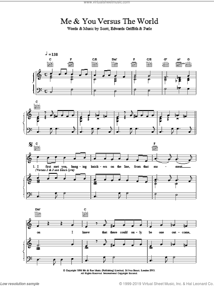 Me and You Versus The World sheet music for voice, piano or guitar, intermediate voice, piano or guitar. Score Image Preview.