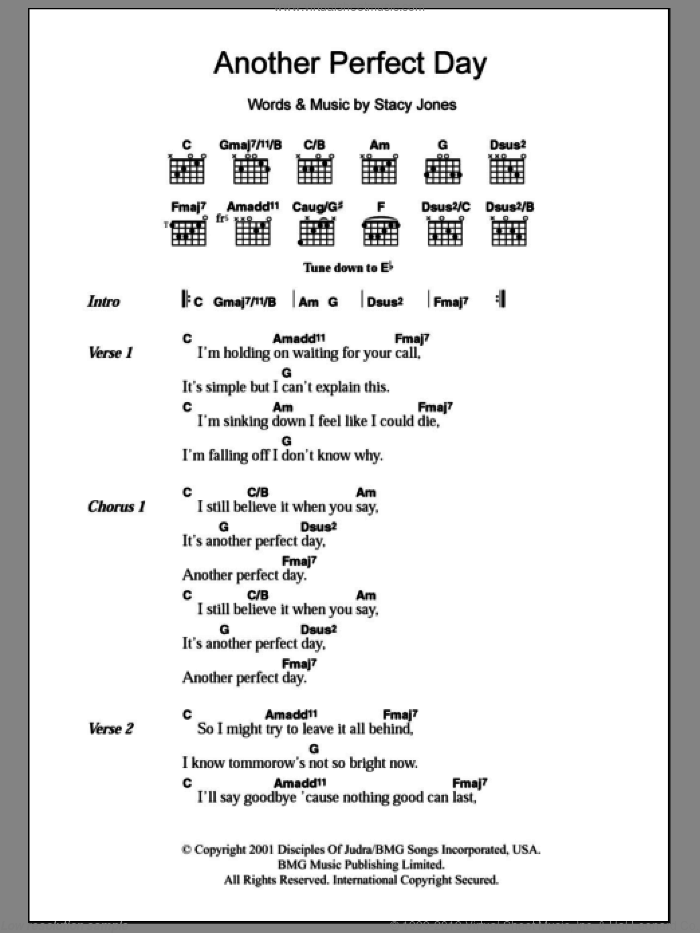 Another Perfect Day sheet music for guitar (chords) by Stacy Jones and American Hi-Fi. Score Image Preview.