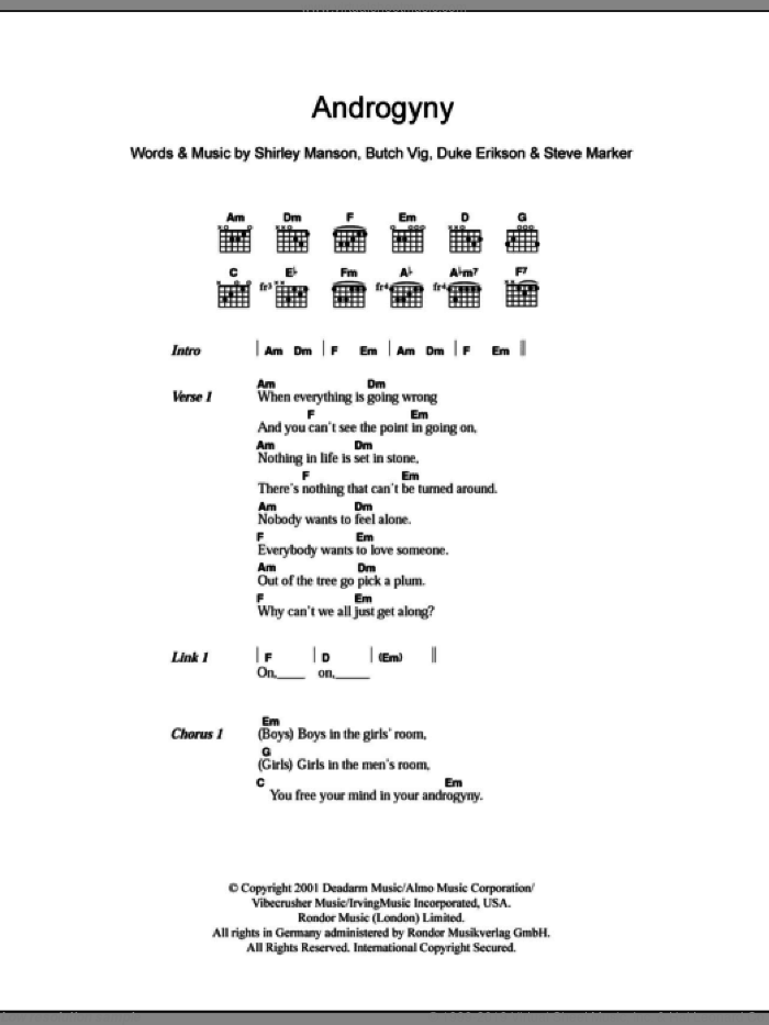 Androgyny sheet music for guitar (chords) by Steve Marker and Butch Vig. Score Image Preview.