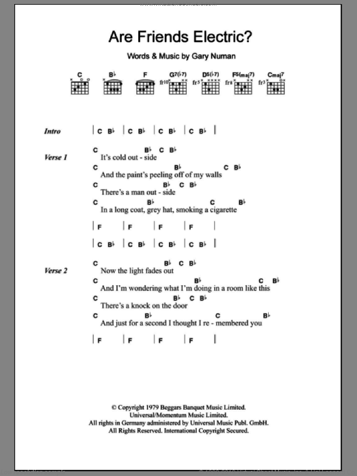 Are 'Friends' Electric? sheet music for guitar (chords, lyrics, melody) by Gary Numan