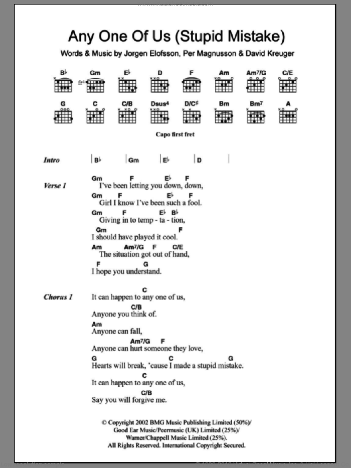 Anyone Of Us (Stupid Mistake) sheet music for guitar (chords) by Per Magnusson, Gareth Gates, David Kreuger, JA�Aorgen Elofsson and Jorgen Elofsson. Score Image Preview.