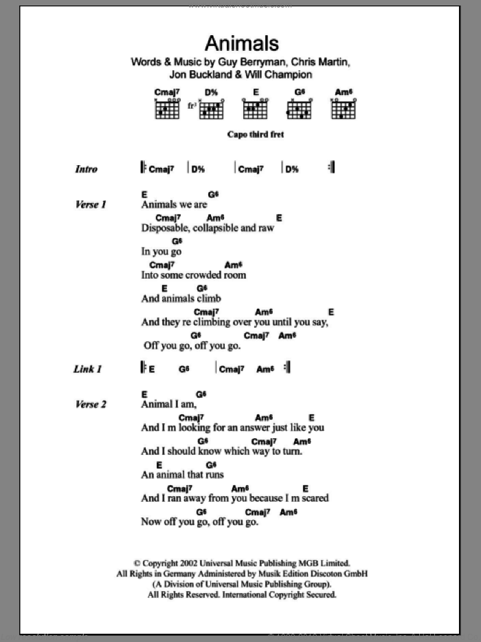 Animals sheet music for guitar (chords) by Will Champion, Coldplay, Chris Martin, Guy Berryman and Jon Buckland. Score Image Preview.