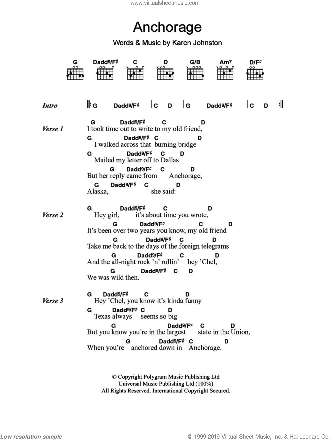 Anchorage sheet music for guitar (chords, lyrics, melody) by Karen Johnston